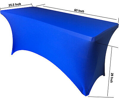 "SPANDEX 5' Fitted Tablecloth Stretch Table Cover ROYAL BLUE (Fit 25.5"" Width)"
