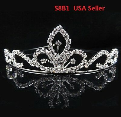 Bridal Wedding Prom Rhinestone Crystal Princess Crown Tiara Headband Kid S8B1