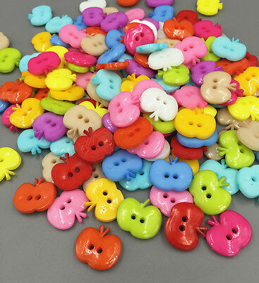 50PCS DIY Resin buttons Mixed Color Sewing Scrapbooking Apple 2 Holes16mm