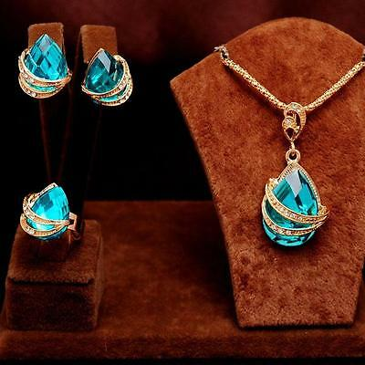 3PCS 14k gold Plated sky blue crystal Necklace Earrings Ring women's Jewelry Set