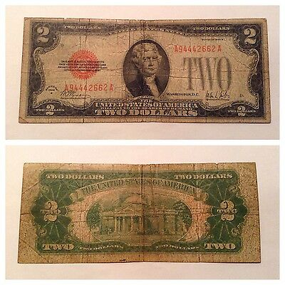 Vintage Rare $2 1928-B United States Note A-A Two Dollar Jefferson Usn Dollars