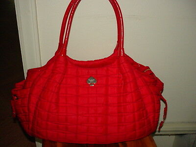 Kate Spade~ Stevie~Red Laquer Quilted Nylon Signature Baby Diaper Bag Tote -EUC