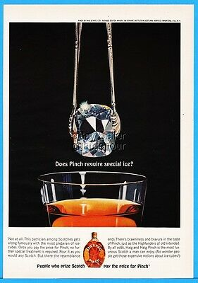 1963 Haig Pinch Scotch Whisky DIAMOND Jewel Special Ice Vintage Photo Print Ad