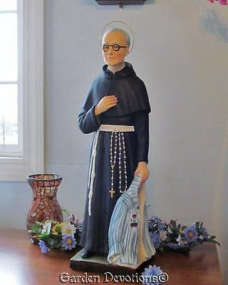 """25.5"""" ST. MAXIMILIAN KOLBE PLASTER STATUE Patron of Difficult Times * IMPORTED*"""