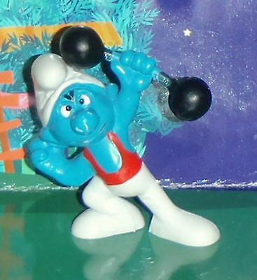 Vintage Rare Strongman Smurf Lifting A Barbell W. Germany Smurf Lot