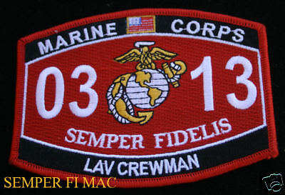 MOS 0313 LAV CREWMAN US MARINES PATCH MARINE M60 M16 Light Armored Recon Bn GIFT