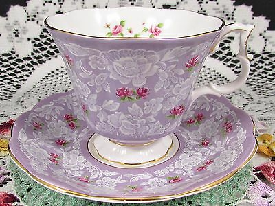 Royal Albert True Love Series Rose Lace Lavender Tea Cup And Saucer
