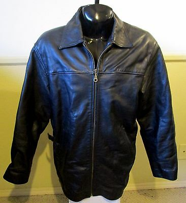 Men's OAKWOOD Classic Black 100% Leather Thinsulate Zipper Jacket Size M
