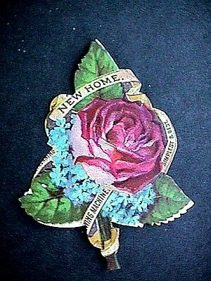 Collectible Antique Victorian Trade Card New Home Sewing Machine Die Cut Rose