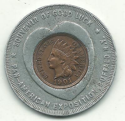 Encased Coin Xf/ 1901 Indian Head Cent Heart-Pan American Exposition Buffalo N.y