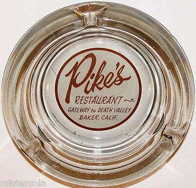 Vintage glass ashtray PIKES RESTAURANT Gateway to Death Valley Baker California