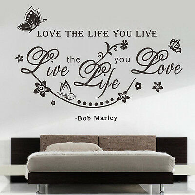 New Love the Life You Live Vinyl Wall Sticker Wall Art Home Decal Decor Mural