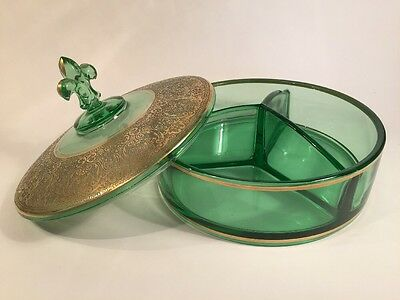 Vintage Green Glass Candy Dish Gold Gilt