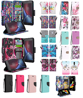 LG Stylo 3 Plus Design Wallet Credit Card ID Slot Stand Flip Phone Case Cover