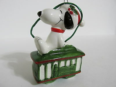 Snoopy Peanuts Charlie Brown Determined Ceramic Christmas Ornament Figure 1980