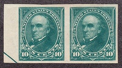 US 273P5 10c Webster Imperf Pair on Stamp Paper PH OG SCV $325