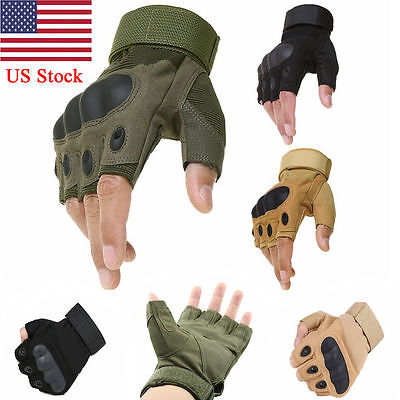 USA Tactical Fingerless Military Outdoor Airsoft Hard Knuckle Half Finger Gloves