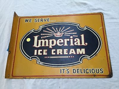 Vintage Imperial Ice Cream It's Delicious  Metal Flange Sign