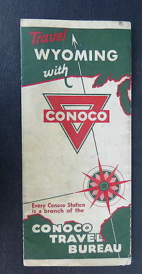 1932 Wyoming   road  map Conoco  oil gas Yellowstone National Park