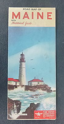 1954   Maine  road  map Flying A  oil gas Portland Head Lighthouse cover