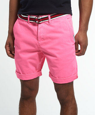 New Mens Superdry International Hyper Pop Chino Short Echo Pink