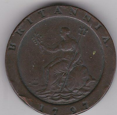 Large 1797 George Iii Cartwheel Two Penny Coin In A Used Good Fine Condition