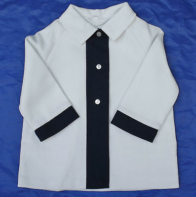 "Vintage baby coat UNUSED 1960s GIRLS White Navy blue 9-12 months 16"" infant"