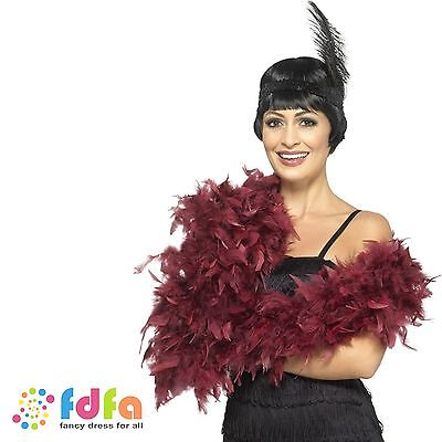 BURGUNDY DELUXE FEATHER BOA 6ft HEN NIGHT Womens Ladies Fancy Dress Accessory