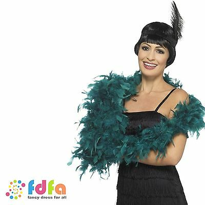 TEAL DELUXE FEATHER BOA 6ft HEN NIGHT Womens Ladies Fancy Dress Accessory