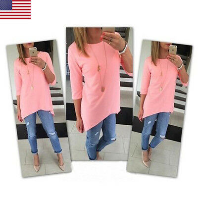 Fashion Women's Loose 3/4 Sleeve Causal Tunic Tops Blouse T-Shirt Pink Size M US