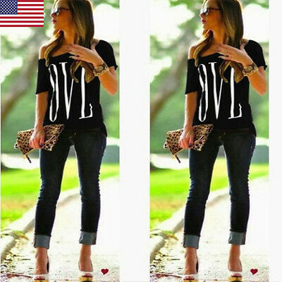 Women Off Shoulder Love letters Blouse Short Sleeve Blause Casual Tops T-Shirt