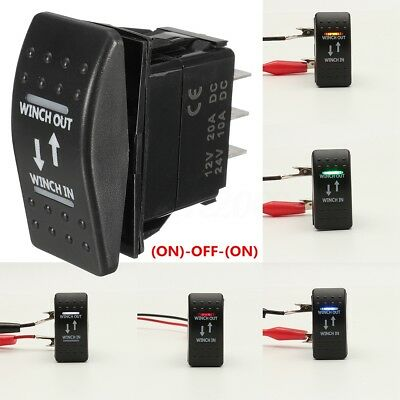 12V 20A Winch In Winch Out (ON)-OFF-(ON) Interruttore A Bilanciere LED 7-Pin