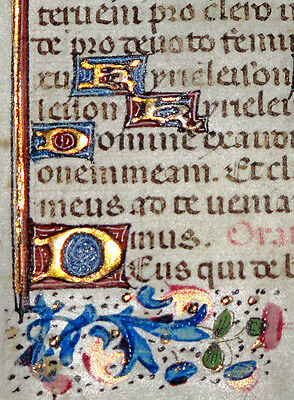 c1460 Illuminated MEDIEVAL Book of Hours MINIATURE Manuscript VELLUM Leaf MINI