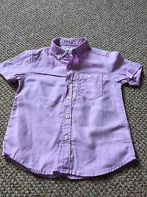 NEXT Boys Lilac Short Sleeve Shirt Linen/Cotton 18-24 Months Used Good Condition