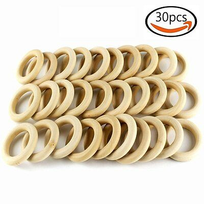 30pcs DIY Wooden Rings Circle Craft Projects Pendant Connectors