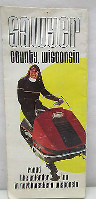 Vintage Sawyer County Wisconsin Map Brochure Alouette Snowmobile