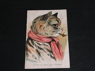 Original Louis Wain Signed Cat Postcard - Don't Tax My Baccy.