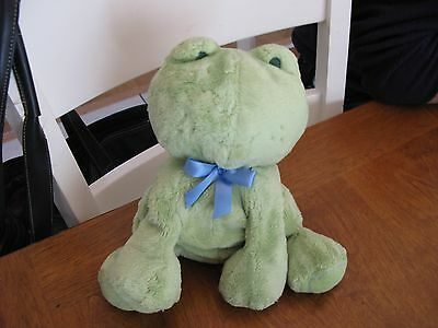 "CARTERS NO SOUND  PLUSH FROG GREEN 9 "" blue  bow lovey baby"