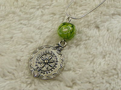 Silvertone Green Flower Glass Bead Rhinestone Pendant Necklace (A76)