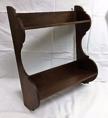 Antique Mahogany Wood Hanging Wall Shelf Curio Whatnot Graduated 2 Tier Display