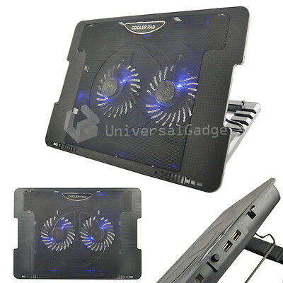 "Laptop Netbook Cooler Cooling Pad 2 Usb Fan Stand For 15 17"" Games Console"