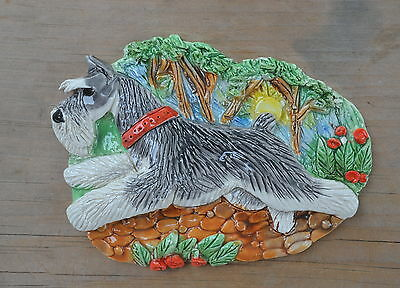 Schnauzer.  Handsculpted ceramic wall plaque.Small.   .OOAK .LOOK