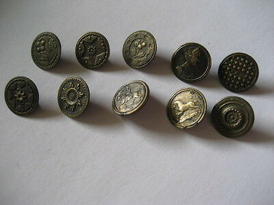 Collection of 10 antique buttons : 19th century