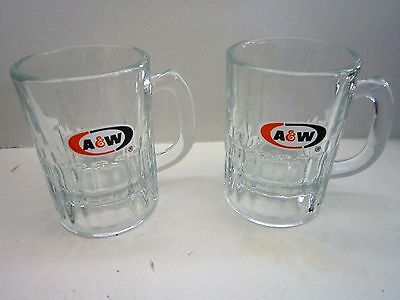 "2 Vintage A & W ROOT BEER MUGS Oval Logo SMALL Glass BABY Mini 3.25""  NICE  4 oz"