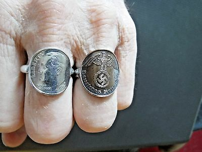 """1939 German """"BRONZE"""" 1-Pfenning./.925 Silver Band   COIN RING   Size 12"""