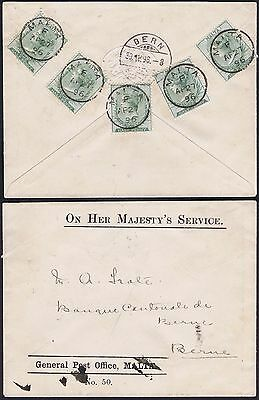 1896 Malta 5 x 1/2d Used to Bern OHMS Unusual and Attractive Franking