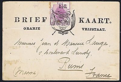 1895 c. Orange Free State 1 1/2d Postcard to Reims France
