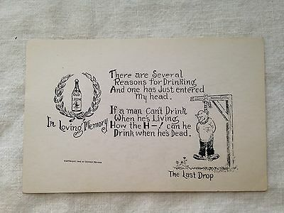 """Rare Old Crow Whiskey 1948 Post Card """"The Last Drop"""" +"""