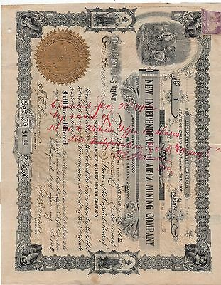 1902 Mining Stock # 1 from the New Independence Quartz Mining Co San Francisco