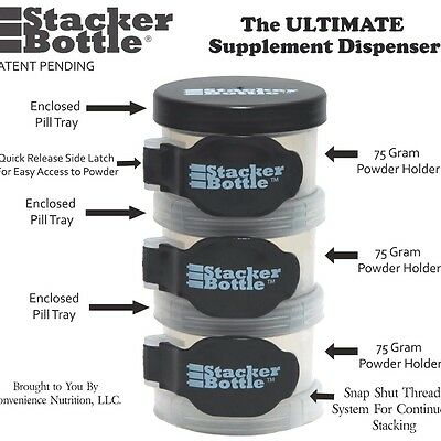 Stacker Bottle Portable Protein Storage Containers Supplement Dispenser
